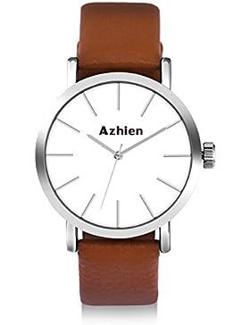 [Gesponsert]Azhien uhren herren armbanduhr damen Uhr braun Echtes Lederband, Klassisch Modisch Geschäfts Casual Sport Armbanduhr...
