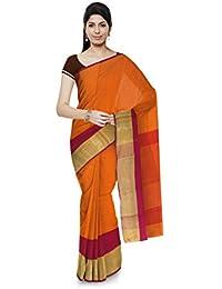 Aadi Handloom Maheshwar Maheshwari Handloom Cotton & Silk Saree (Orange)