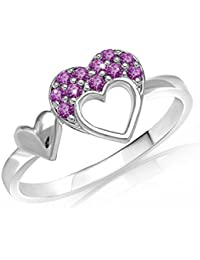 Mahi With Swarovski Crystals Purple Heart Double Rhodium Plated Valentine Love Ring For Women FR7204001RPur