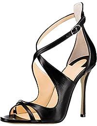 Calaier Mujer Cacatcac Tacón De Aguja 10CM Sintético Hebilla Sandalias de vestir Zapatos