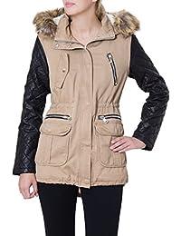 b6b4e042d19a CASPAR Damen Parker Jacke mit Fellkragen und gesteppten Kunstlederärmeln-  viele Farben - MTL005
