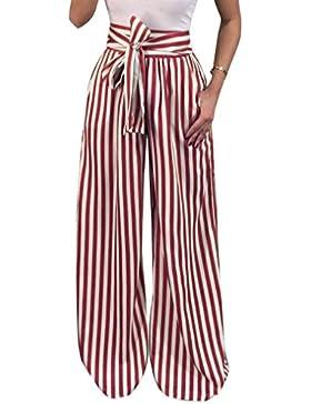 Monika Verano Mujer Pantalones con Vendaje Moda Rayas Impresión Pierna Ancha Pantalón Largo Pants