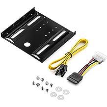 """deleyCON -  Base de montaje para discos duros y SSD de 2,5"""" a 3,5"""", incluye tornillos, cable SATA y adaptador de corriente, negro"""