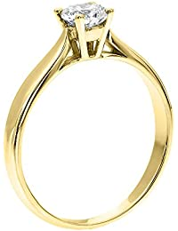 GIA Certified, Round Cut, Solitaire Diamond Ring in 14K Gold / Yellow (1/3 ct, F Color, SI2 Clarity)