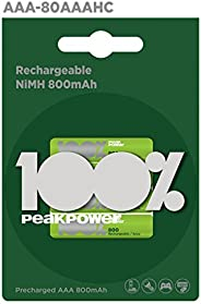GP Batteries Peak Power 800 Aaa Ince Kalem Ni-Mh Şarjlı Pil, 1.2 Volt, 4'Lü Kart, Yeşil/Siyah