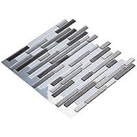 """Pared manualidades 3d sensorial mosaico Peel & stick azulejos 10 pcs cocina/baño Backsplash vinilo adhesivo decorativo para pared, 12 """"x12, color negro, blanco y gris color, negro, 10 unidades"""