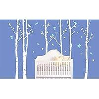 Decalshut Adesivi da parete in vinile, motivo: alberi di betulla, per cameretta da parete adesivi, decorazione per soggiorno