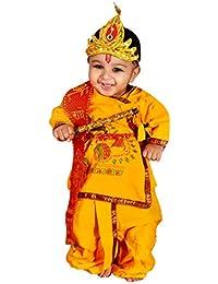 Vbirds cotton Krishna Dhoti Kurta Dress for Infant (Pack Of 5-Kurta,Dhoti,Bansuri,Mukut,Patka)