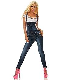 609a5fc6a5f655 Fashion4Young Damen Latzjeans Latzhose Latz Jeans Röhrenjeans Jeanslatzhose  Overall versch. Designs