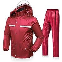 GYL YUYI LWFB Impermeable, Adultos Montar al Aire Libre Caminar Cuerpo Completo Doble Gruesa Conjunto Dividida contra tormentas 2 Colores Múltiples tamaños Opcional (Color : Red, Tamaño : Metro)