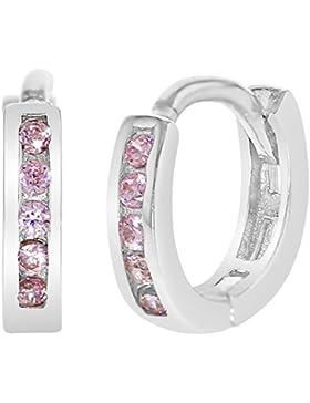 In Season Jewelry Baby Mädchen - Creolen Ohrringe 925 Sterling Silber Rosa CZ Zirkonia 8mm
