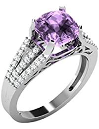 His & Her .925 Sterling Silver, Solitaire And Amethyst Ring For Women