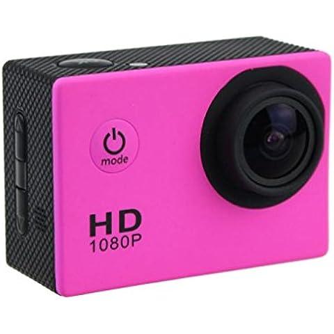 FEITONG 12MP HD 1080P Casco de la bicicleta mini deportes Acción DV La cámara del coche a prueba de agua (rosas fuertes)
