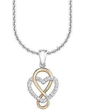 s.Oliver Damen-Kette 42/45 cm mit Anhänger Herz 925 Silber teil-rosévergoldet Bicolor Zirkonia weiß