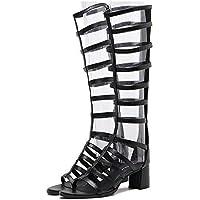 Zapatos de mujer de verano con sandalias romanas de tacón alto y tacón alto ( Color : Black , tamaño : 40 )