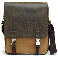 Borsa a tracolla per gli uomini. Messenger bag con patta. Sacchetto in pelle e cotone lavato.