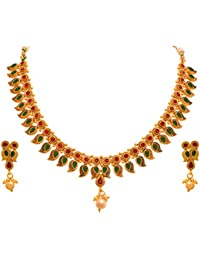 Jfl - Jewellery For Less Traditional Ethnic One Gram Matt Gold Plated Pink & Green Stone Designer Necklace Set...