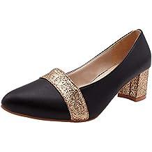 uirend Zapatos de Tacón Mujer - Mujeres Cuero Puntiagudo Bombas Tribunal Zapatos Medio Bajo Tacones Alto