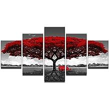 76bdf6b4047 DuDuDu Pintura Mural Arte de Pared para Vivir la Imagen HD Pintura del árbol  Rojo y