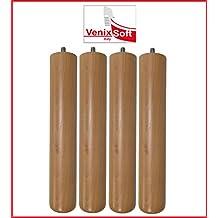 venixsoft set di 4 pezzi piedi in legno di Faggio H 24 cm per reti a doghe in legno-Verniciatura a basso impatto ambientale-Prodotti in Italia