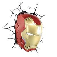 Lampada da parete 3D a LED a forma di maschera di Iron Man, serie supereroi Avengers Marvel, applique decorativa con adesivi da parete e kit di montaggio, licenza ufficiale, 18x13,5x26cm