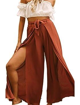 La Mujer Es Irregular De Pierna Ancha Abertura Lateral Acanalada Largo Pantalones Con Cinturon