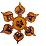 Handmade Elegantly Designed Yellow Rangoli - With Paan Shape Design Decorated With Multicolour Stones And Beads On Yellow Round Shaped Plastic Base - 7 Pieces Set - Packed In Transparent Pouch