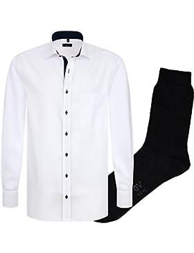 ETERNA Herrenhemd Comfort Fit, weiß, fein Oxford, regulär langarm + 1 Paar hochwertige Socken, Bundle