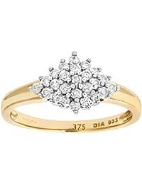 Naava Damen-Ring 9 Karat (375) Gelbgold Gr. 47 (15.0)  11 Saphir Diamanten PR6491SA T