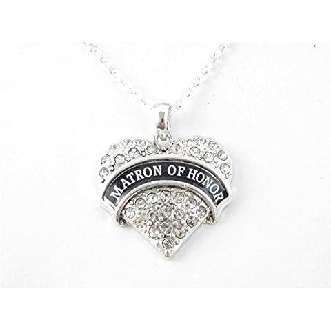 Matron di Onore Cuore di cristallo collana catena argento gioielli regalo di nozze