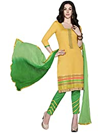 LAVIS Women's Cotton Dress Material (Ranisak111_Free Size_Yellow)