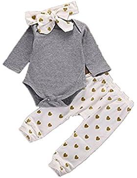BeautyTop 3PCS / Set Neugeborene Baby Jungen Mädchen Spielanzug Tops + Herz Hosen Stirnband Outfits Kleidung