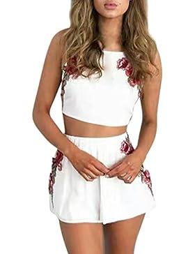 Azbro Mujer Conjunto Top Pantalones Cortos Bordado Floral