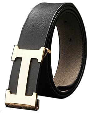 Menschwear Herren Echtes Büffel Leder Gürtel mit Schlupf Schnalle Jeans Hose Gürtel Voellig verstellbar 35mm