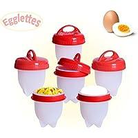 Cuoci Uova Sode Senza Guscio Egglettes Cuociuova Antiaderente In Silicone BPA Free, 6 Pezzi Di Cucinare Egg Maker Visto in TV - LOVE99 (Rosso)