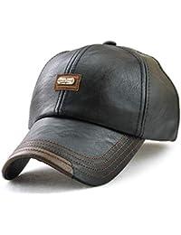 JAMONT Berretto da Baseball in Pelle PU Uomo Inverno Caldo Logo cap  Cappellino Regolabile Copricapo Sport f3293e10a2ee