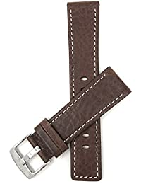 Bandini 28mm Mens Genuine Leather Watch Band Strap - Brown with White Stitch - Square Edged