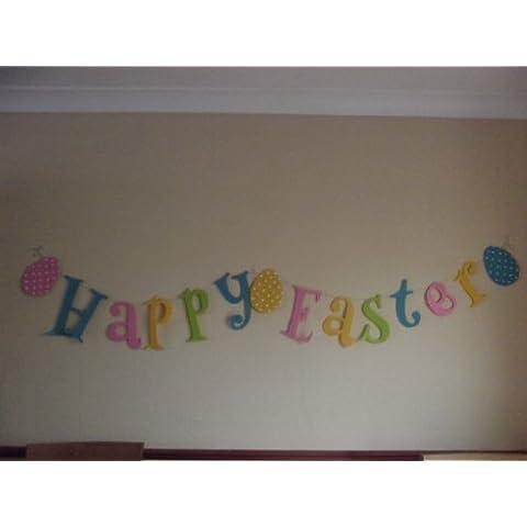 Guirnalda extragrande con texto Happy Easter y huevos de Pascua, 2metros