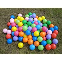 Express Trading ® 100 MULTICOLOURED KIDS CHILDRENS BABY SOFT PLASTIC PLAY BALLS FOR BALL PITS PEN SWIMMING POOL COLOURED COLORFUL TOY