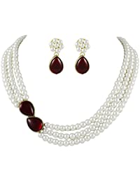 Shining Diva Party Wear Stylish Pearl Necklace Jewellery Set with Earrings for Women/Girls (White) (7973s)