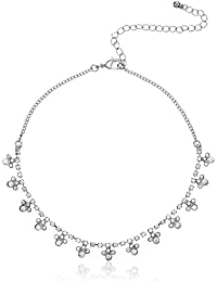 Forever 21 Choker Necklace for Women (00135184011_0013518401_Silver/Clear_1)