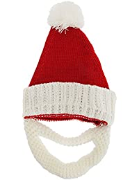 Mens Knitted Santa Claus Christmas Hat With Detachable Beard