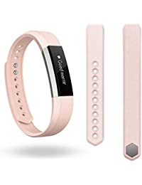 Amlaiworld Pulsera de la venda del cuero genuino Para Fitbit perseguidor Alta (Rosa)