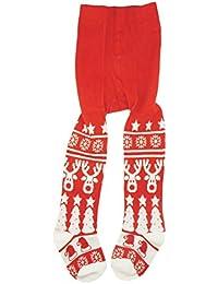 49a1507a75389 Bébé Fille infantile Super mignon Festive Renne Arbre de Noël Coton Rouge  Blanc Collants