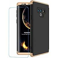Coque pour Samsung Galaxy Note 8, LaiXin Verre Trempé + 360 Entouré Rigide Case Cover en Premium PC Plastique (3 en 1) Ultra Fin Anti-Rayures Anti-Shock Housse de Telephone Protection - Or et Noir