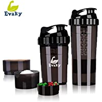 SIVED Bouteille de Shaker protéiné - 3 Couches de Stockage Velcro avec Une Tasse de Shaker protéiné DE 16 oz avec Stockage/Shaker / Bouteille d'eau 500 ML avec cuillère