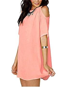Mujer Blusa Casual Vestido Camiseta 3/4 Mango Blusa Cuello En V Hombro Frío Csasual Elástico Estilo Cómodo