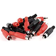 RCA Adaptador de audio y video - TOOGOO(R) 20 pzs Conector adaptador de audio y video clavija macho RCA de soldadura Negro Rojo