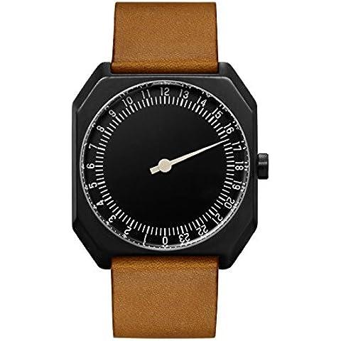Slow Jo-19, colore marrone, stile Vintage, in pelle nera, quadrante nero-Orologio Unisex al quarzo con Display analogico e cinturino in pelle, colore: marrone