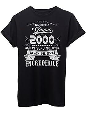 iMage T-Shirt Compleanno Nato A Giugno del 2000-18 Anni per Essere Incredibile - Eventi